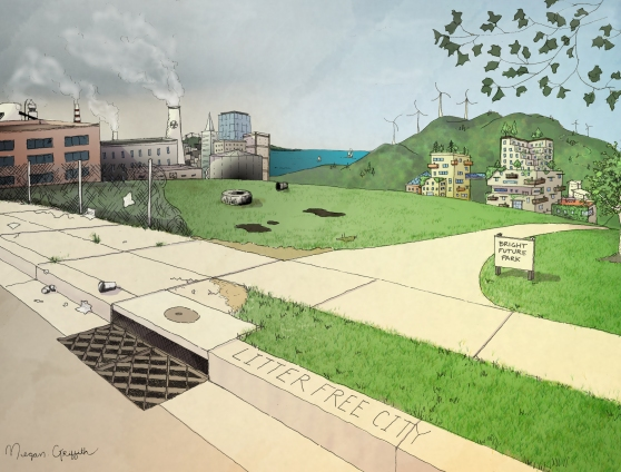 Megan Griffith's rendering of the urban shift- from industrial and dirty to clean and ecological.