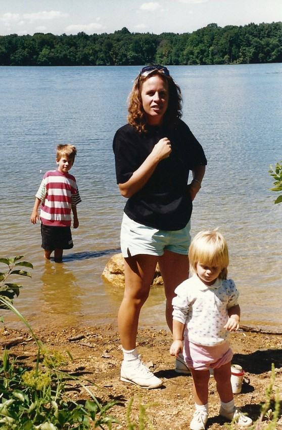 My mom with my brother and I at the Loch Raven Reservoir